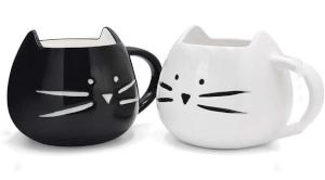 duo de 2 mugs en forme de tete de chat
