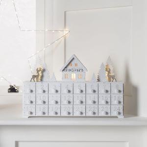 calendrier de l'avent blanc bois tiroirs