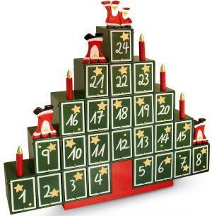 Calendrier de l'Avent en Forme de Sapin de Noël bois vert et rouge