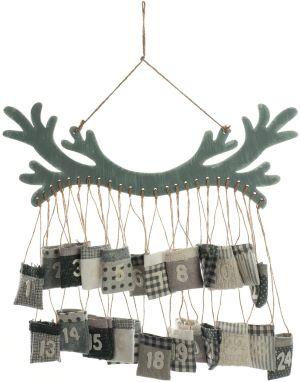 Calendrier de l'Avent avec Suspension en forme de corne de renne et Pochettes Numérotées
