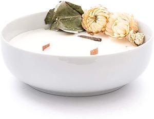 grande bougie blanche à la cire de soja cadeaux vegan
