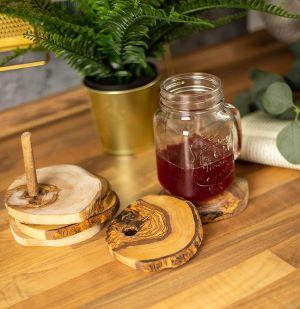 lot de sous-verre en bois d'olivier pour cadeau crémaillère