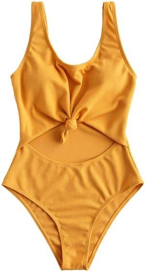 maillot de bain une pièce jaune pour femmes