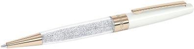 stylo à bille blanc et or avec cristaux swarovski