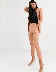ensemble tailleur pantalon rose poudré