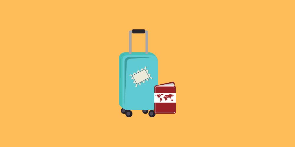 icone avec valise de cadeaux pour voyageurs