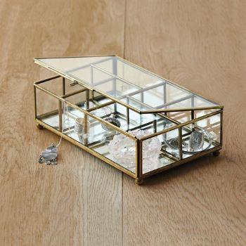 boite à bijoux dorée compartimentée