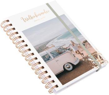 journal de voyage rosegold  à anneaux