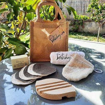 set de routine beauté avec un sac en toile de jute