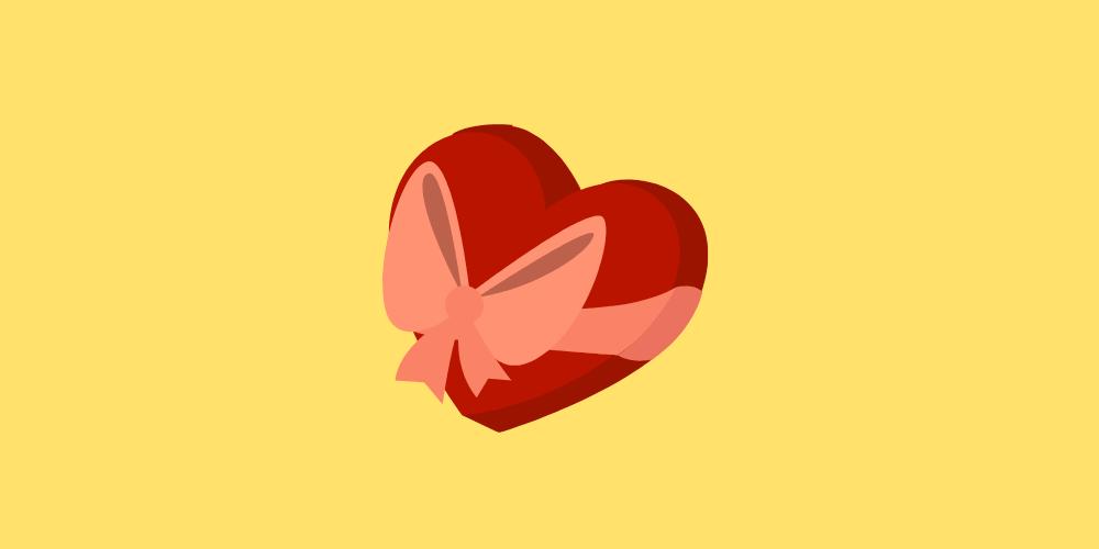 icone de coffret cadeau en forme de coeur pour la saint valentin