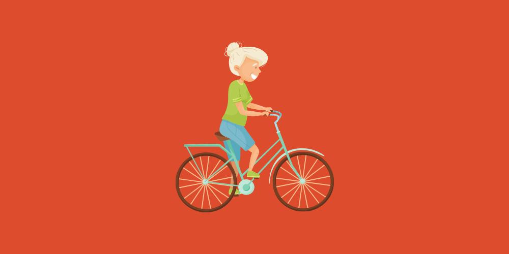 jeune retraitée sur son vélo