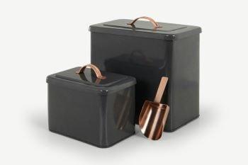 lot de 2 boites en métal noir mat et rosegold