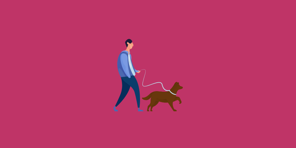 icone homme promenant son chien