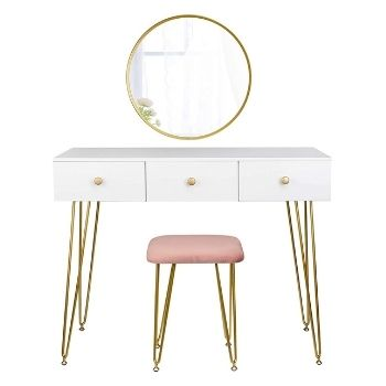 coiffeuse blanc avec miroir or et siège rose poudré