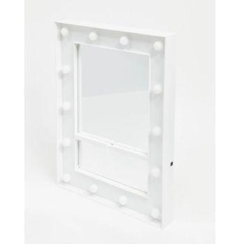 miroir blanc avec ampoules