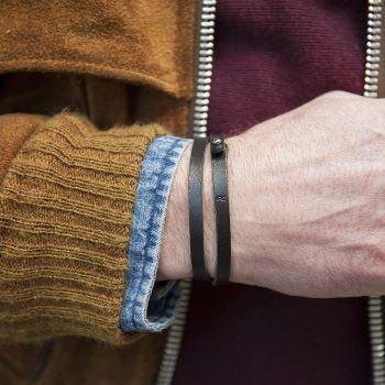bracelet double pour homme cuir noir