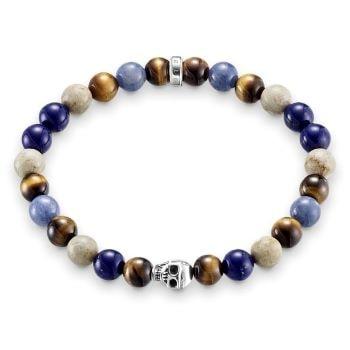 bracelet perles couleurs et tete de mort thomas sabo