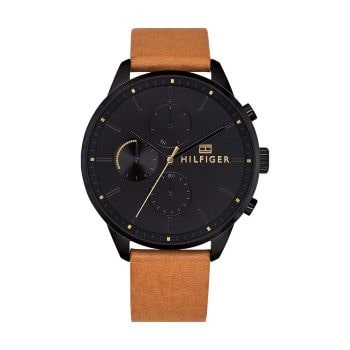 montre pour homme bracelet cuir camel tommy hilfiger