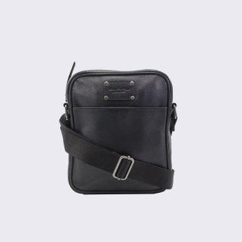 sacoche en cuir noire pour homme