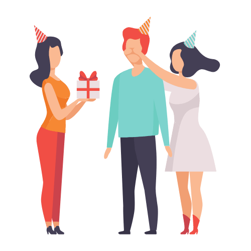 deux femme offrant un cadeau à un homme