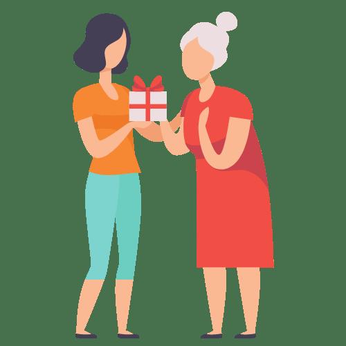 femme offrant le cadeau parfait à sa grand mère